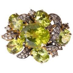 11.73 Carat Green Peridot Brown Diamond Cocktail Ring