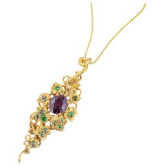 Dianna Rae Jewelry Grape Garnet and Multi Color Sapphire Pendant Necklace