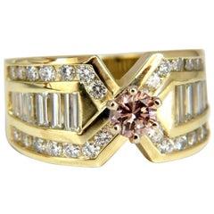 GIA Certified 2.44 Carat Natural Pink Brown Diamond Ring 14 Karat