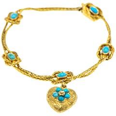 Victorian 18 Karat Gold Turquoise Heart Charm Bracelet