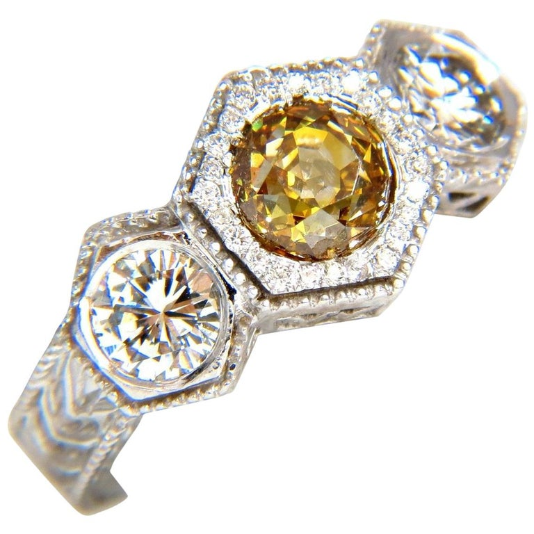 GIA 2.30 Carat Fancy Yellow Brown Diamonds Ring 18 Karat Edwardian Crown Deco For Sale