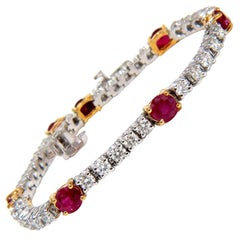 7.00CT Natural Vivid Red Ruby & Diamonds Tennis Bracelet 14KT Two Toned