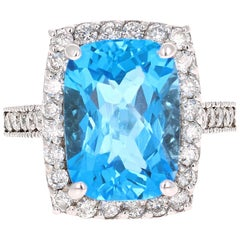 8.49 Carat Blue Topaz Diamond White Gold Engagement Ring