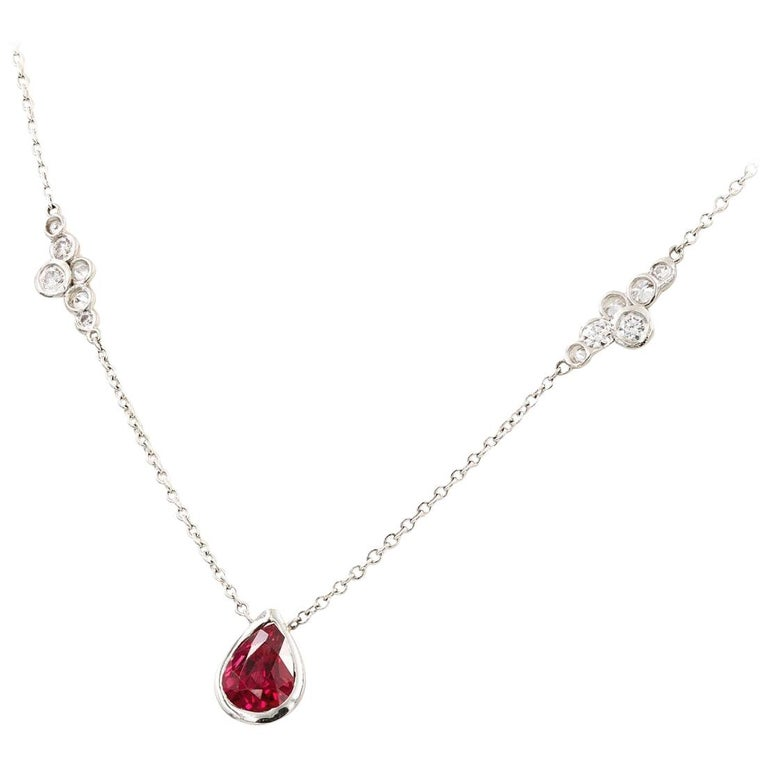 Lester Lampert Original Pirouette Diamond Necklace with Pear Shape Ruby Center