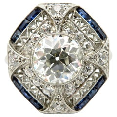 Estate Platinum GIA Certified Old European Cut Diamond & Sapphire Art Deco Ring