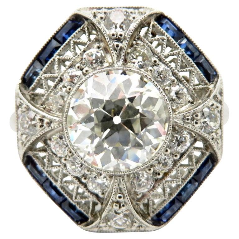 Estate Platinum GIA Certified Old European Cut Diamond & Sapphire Art Deco Ring