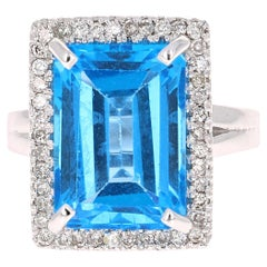 10.48 Carat Blue Topaz Diamond White Gold Cocktail Ring