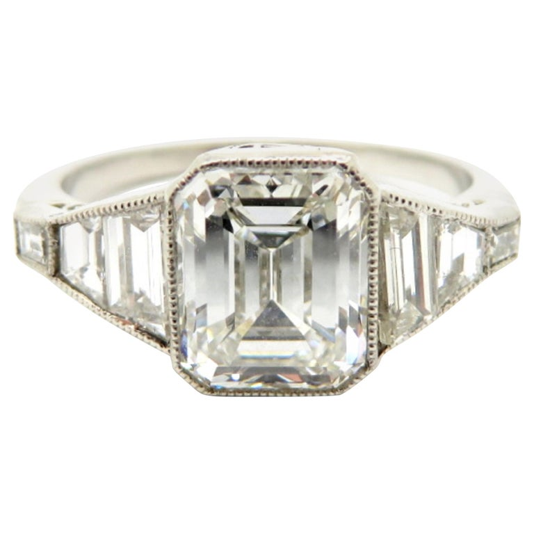 Platinum Estate Vintage Antique Gia Certified Emerald Cut