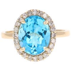 4.88 Carat Blue Topaz Diamond Yellow Gold Cocktail Ring