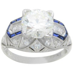 Art Deco 3.41 Carat Platinum Diamond and Sapphire Engagement Ring, circa 1930