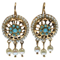1940s 14 Karat Yellow Gold, Pearl and Turquoise Drop Earrings