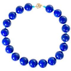 Lapis Lazuli Beads Sleeping Beauty Spacers 14 Karat Rose Gold and Diamond Clasp
