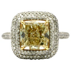 4.25 Carat EGL Fancy Light Yellow Cushion SI1 Diamond with Pave Platinum Ring