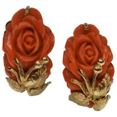 Vintage Carved Natural Coral Rose and 14 Karat Yellow Gold Pierced Earrings