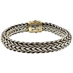 John Hardy Two-Tone 18 Karat Yellow Gold Classic Chain Collection Bracelet