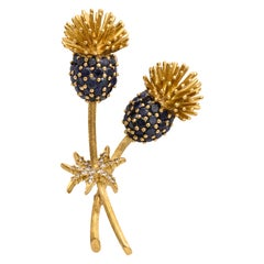 18 Karat Gold Hallmarked SK Clip or Brooch with Blue Sapphires and Diamonds