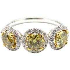 Estate GIA Certified 18K Yellow /White Diamond Three Stone Halo Anniversary Ring