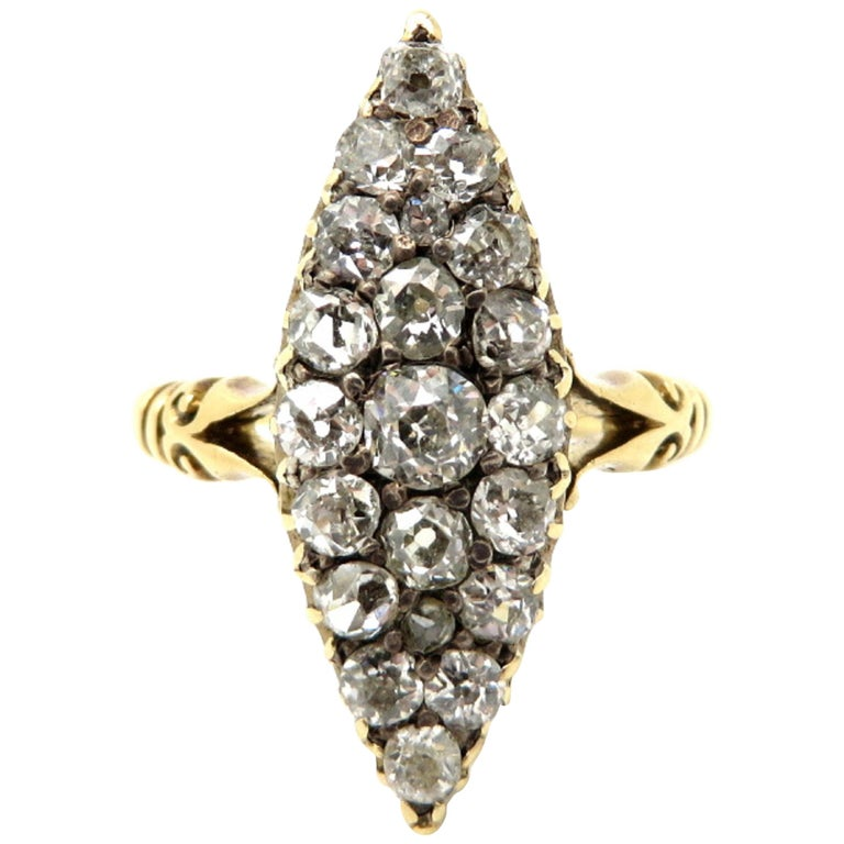 Estate Vintage Antique Victorian Navette Old European Cut Diamond Ring 18K YG