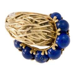 1970s Pomellato Lapis Lazuli and Woven Gold Ring