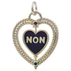 French Spinning YES/NO Gold and Enamel Charm