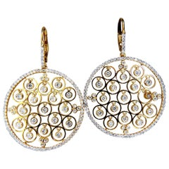 3.02 Carat Natural Diamonds Floating Grill Dangle Earrings 18 Karat Circles