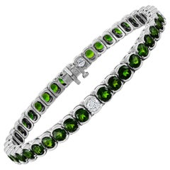 12.00 Carat Chrome Diopside and Diamond Gold Tennis Bracelet