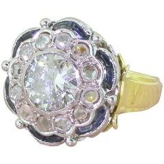 Art Deco 1.97 Carat Old Cut Diamond, Rose Cut Diamond and Sapphire Cluster Ring