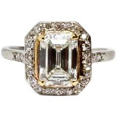 Art Deco 2 Carat Emerald Cut Diamond Engagement Ring