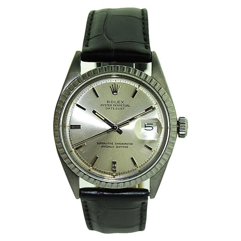 Rolex Steel Datejust with Original Dial and Charcoal Finish, 1960's For Sale