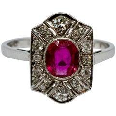 Art Deco Ruby and Diamond Panel Ring