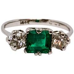 Art Deco Emerald and Diamond Three-Stone Ring