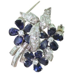 Midcentury 4.35 Carat Sapphire and 1.06 Carat Diamond Brooch