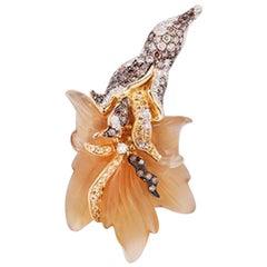 Flower Pendant with Diamonds and Sapphires, 18 Karat Yellow Gold