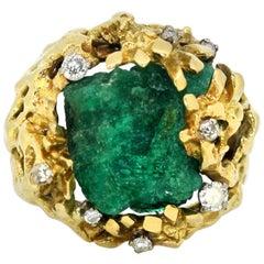 Vintage 18 Karat Gold Ring with Natural Rough Emerald and Diamonds, circa 1970