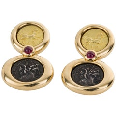22 Karat Gold, Silver French Coin and Ruby Drop Earrings