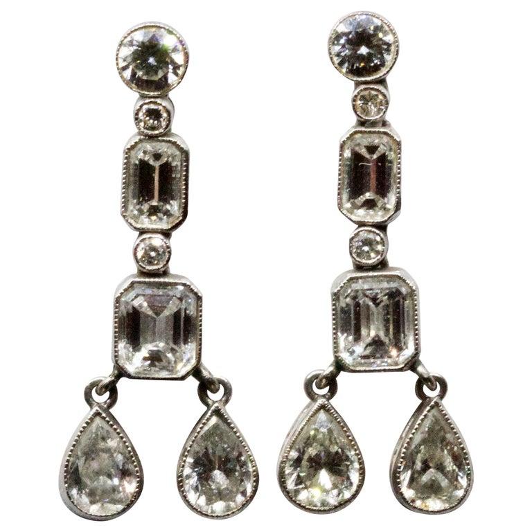 Art Deco Diamond Multi Drop Earrings
