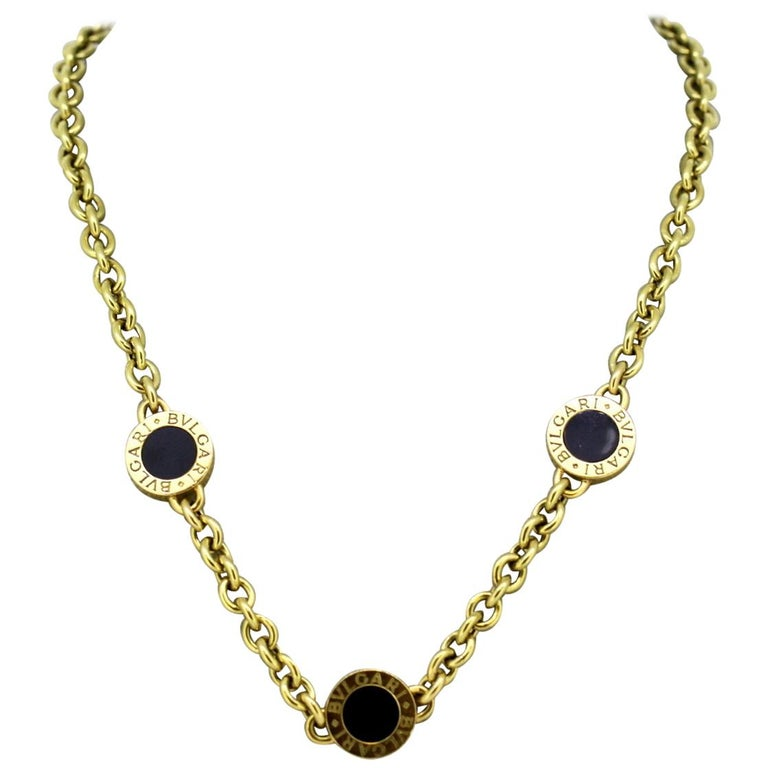Bvlgari, 18 Karat Yellow Gold Ladies Necklace with Onyx, Italy, circa 1990s