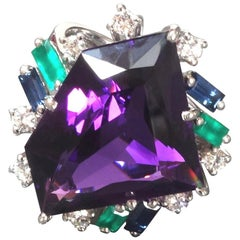 1990s Otto Klein 26 Carat Amethyst Diamond Sapphire Emerald Gold Cocktail Ring