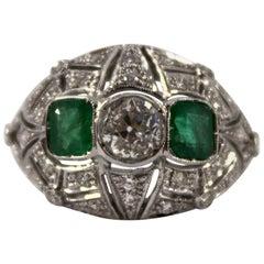 Renaissance Style 0.60 Carat Emerald 1.00 Carat White Diamond White Gold Ring