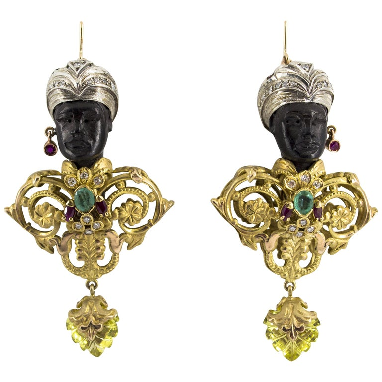 "White Diamond Ruby Emerald Quartz Ebony Yellow Gold ""Moor of Venice"" Earrings"