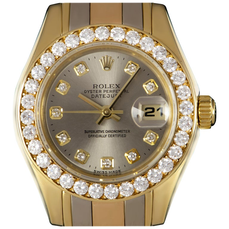 Rolex Pearlmaster Datejust Ladies Ridor Silver Dial 80298 Automatic Wristwatch