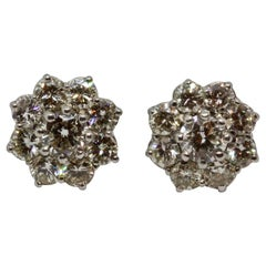 Vintage 2.6 Carat Diamond White Gold Flower Stud Earrings