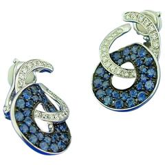 Sapphire Diamond Gold Earclips