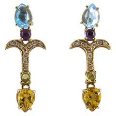 0.20 Carat Diamond Peridot Amethyst Citrine Blue Topaz Yellow Gold Stud Earrings