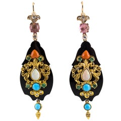 White Diamond Emerald Tourmaline Opal Onyx Coral Turquoise Yellow Gold Earrings