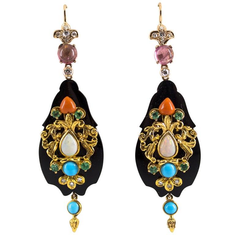 White Diamond Emerald Tourmaline Opal Onyx Coral Turquoise Yellow Gold Earrings