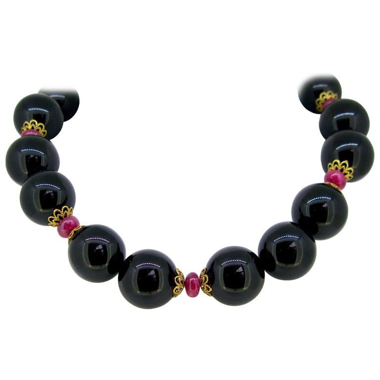 Vintage Onyx Beads and Ruby Necklace