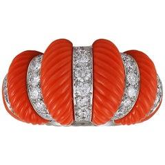 Museum Quality Cartier Paris Diamond Coral Bombe Ring