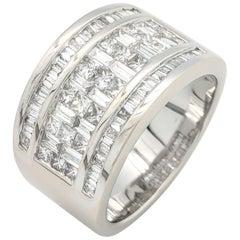 14 Karat White Gold Baguette and Princess Cut Diamond Wide Band 3 Carat VS1/F