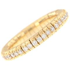 Diamond Eternity Yellow Gold Flexible Band Ring